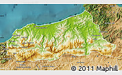 Physical Map of Jijel, satellite outside
