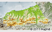 Physical Map of Jijel, semi-desaturated