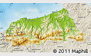 Physical Map of Jijel, shaded relief outside