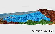 Political Panoramic Map of Jijel, darken