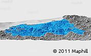 Political Panoramic Map of Jijel, desaturated
