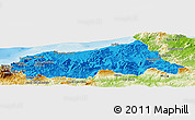 Political Panoramic Map of Jijel, physical outside