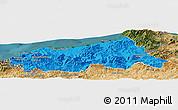 Political Panoramic Map of Jijel, satellite outside