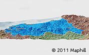 Political Panoramic Map of Jijel, semi-desaturated