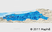 Political Panoramic Map of Jijel, shaded relief outside