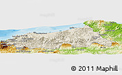 Shaded Relief Panoramic Map of Jijel, physical outside