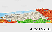 Shaded Relief Panoramic Map of Jijel, political outside