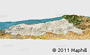 Shaded Relief Panoramic Map of Jijel, satellite outside