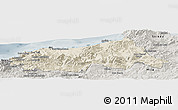 Shaded Relief Panoramic Map of Jijel, semi-desaturated