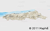 Shaded Relief Panoramic Map of Jijel, single color outside