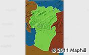 Political 3D Map of Khenchela, darken