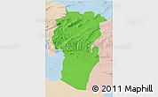 Political 3D Map of Khenchela, lighten