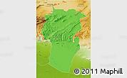 Political 3D Map of Khenchela, physical outside