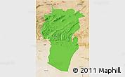 Political 3D Map of Khenchela, satellite outside