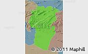 Political 3D Map of Khenchela, semi-desaturated