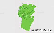 Political 3D Map of Khenchela, single color outside