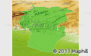Political Panoramic Map of Khenchela, physical outside