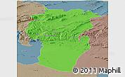 Political Panoramic Map of Khenchela, semi-desaturated