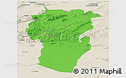 Political Panoramic Map of Khenchela, shaded relief outside
