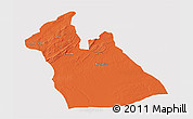Political 3D Map of Laghouat, cropped outside