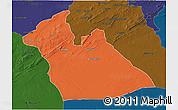 Political 3D Map of Laghouat, darken