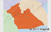 Political 3D Map of Laghouat, lighten