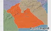 Political 3D Map of Laghouat, semi-desaturated