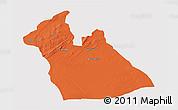 Political 3D Map of Laghouat, single color outside