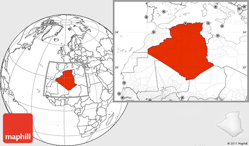 Blank Location Map of Algeria