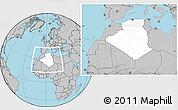 Blank Location Map of Algeria, gray outside