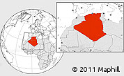 Blank Location Map of Algeria, highlighted continent