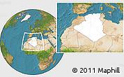 Blank Location Map of Algeria, satellite outside