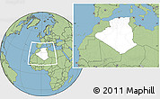 Blank Location Map of Algeria, savanna style outside