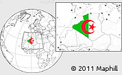 Flag Location Map of Algeria, blank outside
