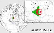 Flag Location Map of Algeria, blank outside