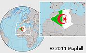 Flag Location Map of Algeria, gray outside