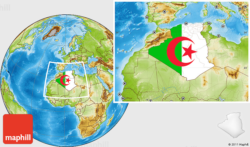Flag Location Map Of Algeria Physical Outside - Algeria physical map
