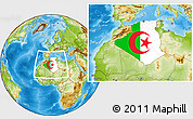 Flag Location Map of Algeria, physical outside