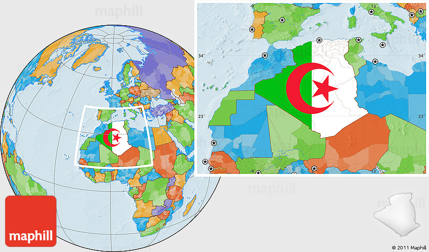 Flag Location Map of Algeria, political outside
