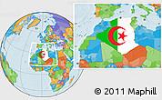 Flag Location Map of Algeria, political outside