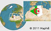 Flag Location Map of Algeria, satellite outside
