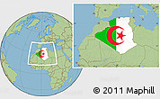 Flag Location Map of Algeria, savanna style outside