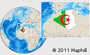 Flag Location Map of Algeria, shaded relief outside