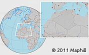 Gray Location Map of Algeria, hill shading inside