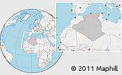 Gray Location Map of Algeria, lighten, land only