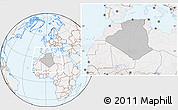 Gray Location Map of Algeria, lighten