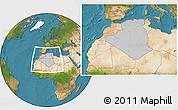 Gray Location Map of Algeria, satellite outside