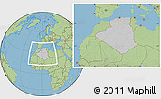Gray Location Map of Algeria, savanna style outside