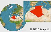 Satellite Location Map of Algeria