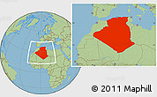Savanna Style Location Map of Algeria